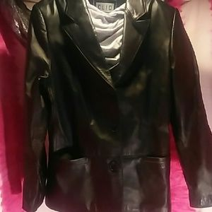 Clio Black Long Leather Jacket Size Small